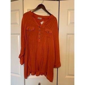 NWT, Avenue, Orange Blouse w Pockets, Size 30-32